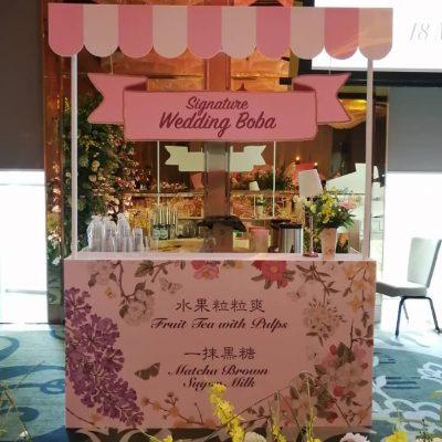 Signature wedding boba bar counter (fruit tea, sugar milk)