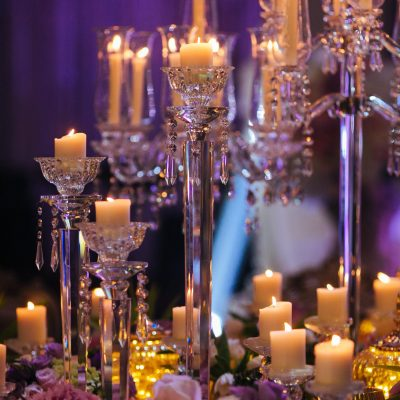 table setting with candles service KL