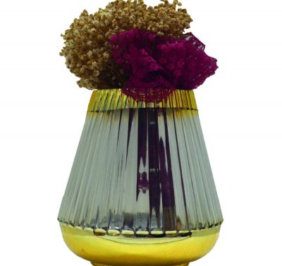 0179_t_Glass Vase in Gold Coated Top&Bottom