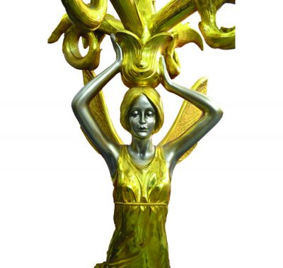 0645_5 Arms Gold Coated Fairy Figure Lamp Stand