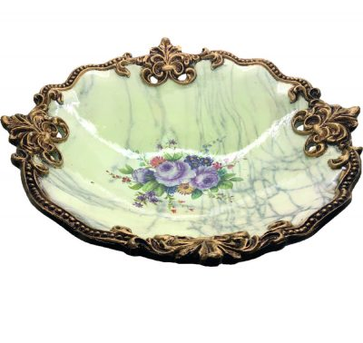 9096_top_Vintage Fruit Bowl in Gold Trimming with Marble Prints