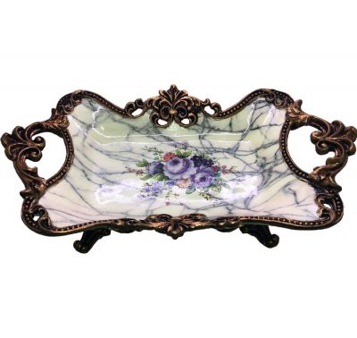 9307_top_Vintage Food Tray in Gold Trimming with Marble Prints