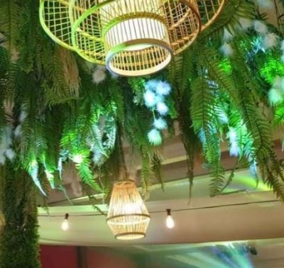 Rattan Cage Ceiling Lamp - rental malaysia