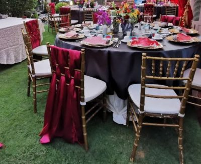 Red Satin Tie wedding decorations rental